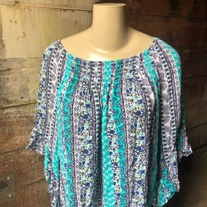 Terra & Sky 3X Teal and Blue Floral Paisley Blouse
